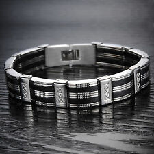 Fashion Stainless Steel Bracelet Silver Black mens Inlaid Clasp Chain Bangle