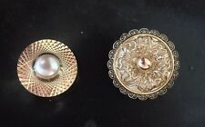 Set Of 2 Vintage Mother Of Pearl Filigree Scarf Clips West Germany Gold Tone