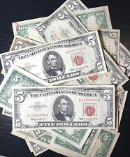 (1) One Random RARE 1953-1963 Red Seal $5 Legal Tender Note FIVE Dollar Bill Lot