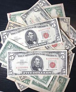 (1) One Random RARE 1953-1963 Red Seal $5 Legal Tender Note FIVE Dollar Bill Lot