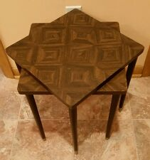 Vintage Mid Century Modern Unique Wood Laminate Square Stacking Tables Set of 2