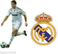2 X CRISTIANO RONALDO REAL MADRID FOOTBALL CREST WALL ROOM STICKER DECAL VINYL G