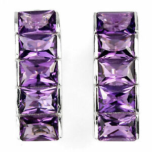 Earrings Purple Amethyst Genuine Natural Gems Solid Sterling Silver Baguette Cut