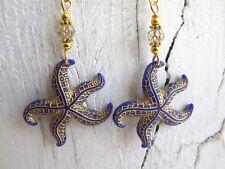 Ohrringe - Seestern blau - Ohrhänger goldfarben starfish Meerjungfrau mermaid