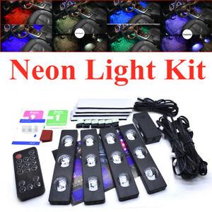 4PCS Cars Trucks Multi-Color Music Control LED Interior Neon Light Kit USB Plug