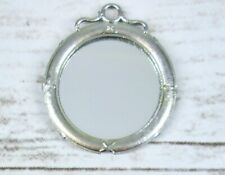 Vintage Miniature Dollhouse Wall Mirror Silver Decor Round Made in Germany