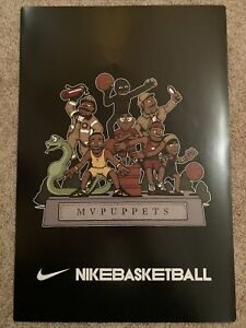 Authentic Kobe Bryant Lebron James Nike MVPuppets Original Poster Rare Lakers