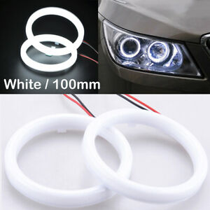2pcs 100mm DRL COB LED Angel Eyes Halo Ring Fog Headlight Lamp Light White