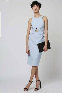 Topshop Ladies 8 Dress Light Blue Cut Out Midi Pencil Wedding Formal RRP£75 BNWT