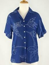 Cacharel French Size 42 (US 10) Blue Floral Blouse Button Down Collared VTG 80's