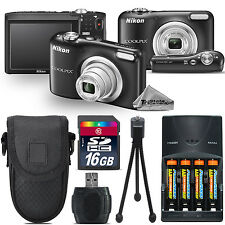 Nikon Coolpix A10 16.1MP Digital Camera Black 5x Optical Zoom - 16GB Kit Bundle