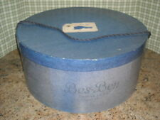 "🌸Beautiful Vintage Xlarge 18"" Bes Ben-Mad Hatter of Chicago Blue Hat Box w/Cord"