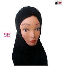 Nuevo Niños Niña Hijab Bufanda de Cabeza Flexible De Tela De Jersey Negro musulmán rápida Disp