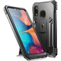 Poetic For Galaxy A20 Kickstand Case,Dual Layer Shockproof Cover Black
