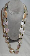 "NATIVE AM. 51"" NECKLACE, ABALONE CHUNK & PONY BEAD 2 STRAND, TIES AT NECK, NICE!"