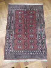 Hand-Knotted Area Rug 4x6 Wool Salmon Bokhara Rug Pre-Owned All-Over