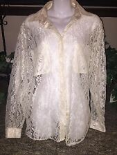 White Lace Vintage Grunge Goth Blouse Button Up Long Sleeve Shirt Notations 14 L