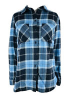 Divided H&M Women's Blue Plaid Button Down Long Sleeve Collared Shirt Size 0