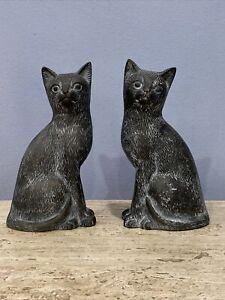 "Pair of BRONZE CATS Sculptures–Great Patina–Heavy–Cat Lover Collectible 9"" tall"