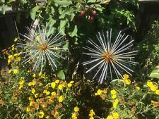 Pair Of Large Allium Metal Flower Garden Stake Ornament Statue Plant Decoration