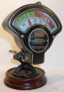 Vintage Motometer Motoco Industrial Thermometer Steampunk Nice Working Condition