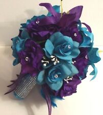 Round Purple Turquoise Malibu Rose Lily Bridal Bouquet Package Wedding Flowers