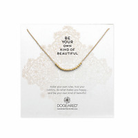 """Dogeared Bead Curve Necklace In Gold Dipped 18"""", V1GG200205200"""