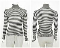 Womens M by Missoni High Neck Jumper Striped White & Black Size IT40 / UK8