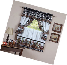 Home Decor Mason Jars Kitchen Curtain Cottage Set Tiers and Ruffled Swag