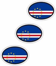"3x Cape Verde Oval Flag Stickers (0.8""x1.2"") Bumper Helmet"