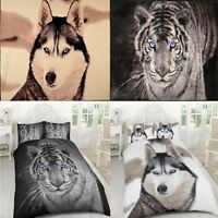 3D Animal Print Duvet Quilt Cover Bedding Set Pillow Case and 3D Throw Blanket