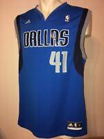 Dallas Mavericks Adidas Dirk Nowitzki #41 Jersey Blue Mens Mavs size large