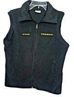 Columbia Womens XL University of Oregon Ducks Fleece Vest Black Full Zippered