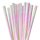 12 PC Cake Pop Party Straws - White Iridescent | Bakell®
