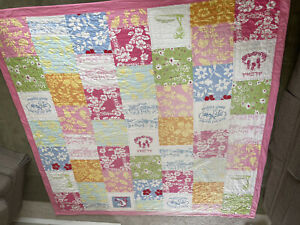 Pottery Barn Kid Patchwork SURF ISLAND Aloha BEACH Queen Quilt  Bed Hawaii As Is