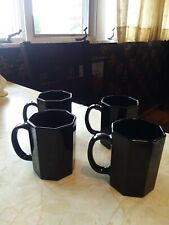 Arcoroc France OCTIME Black Glass  Coffee Mugs - Set of Four - Made in France