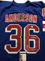 Autographed/Signed GLENN ANDERSON 94 SC Champs New York Blue Jersey JSA COA Auto
