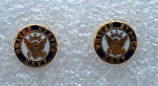 US Navy insignia pierced earrings,gold plated,USA made.