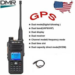 DMR Retevis RT82 GPS Dual Band 3000CH IP Waterproof Walkie Talkie+Accessories US
