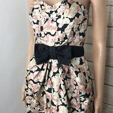 H&M women Black  Bow Waist Fancy Short Party Multicolor Floral Dress Size 6