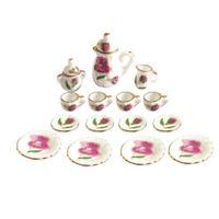 15 Pieces 1/12 Dollhouse Miniature Peony Dining Ware Porcelain Tea Cup Set P2T3