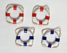 4 MINI-DEKO-RETTUNGSRINGE 5 cm 2 x weiss-blau + 2 x weiss-rot MARITIME DEKO