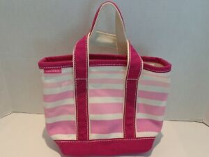 Lands End Pink Striped Canvas Purse Small Tote