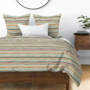 Pink Stripe Retro Happy Moroccan Hippy Earthy Sateen Duvet Cover by Spoonflower