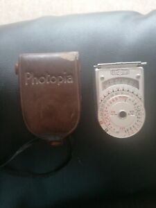 Vintage Photopia Exposure Meter Type Ne-3 In Original Leather Pouch