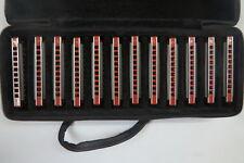 EASTTOP10hole blues harps harmonica set T008K-12 ,12keys mouth organ in one case