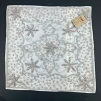 New Handmade In India White Satin Embroidered Beaded Pillow Case Boho Chic