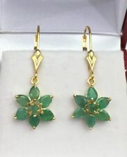 14k Solid Yellow Gold Flower Dangle Lever-back Earrings, Natural Emerald 1.85 Gr