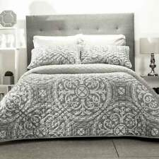 Griego Gray Contemporary Microfiber Reversible Comforter Set by Intima Hogar