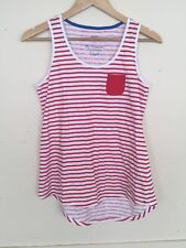 F&F Red And White Stripped Nautical Style Tank Top High Low Size UK 12